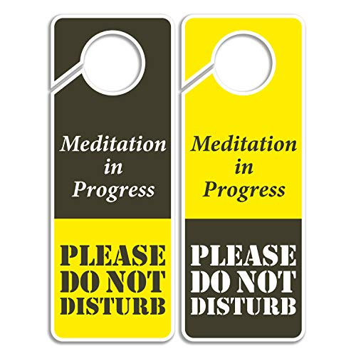 Do Not Disturb Sign - Meditation in Progress, Door Hanger 2 Pack, Double Sided, Ideal for Using in Any Places
