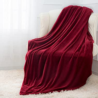 Moonen Flannel Throw Blanket Luxurious Throw Size Lightweight Plush Microfiber Fleece Comfy All Season Super Soft Cozy Blanket for Bed Couch and Gift Blankets (Burgundy, 50x60 Inches)