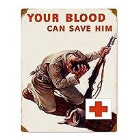 あなたの血は彼を救う 金属板ブリキ看板警告サイン注意サイン表示パネル情報サイン金属安全サイン