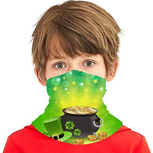 ZVEZVI St Patricks Holiday Sparkling Background Versátil Multifunción Headwear Cuello Polaina Pasamontañas Forro de casco Riding Face Cover para niños al aire libre Protección UV
