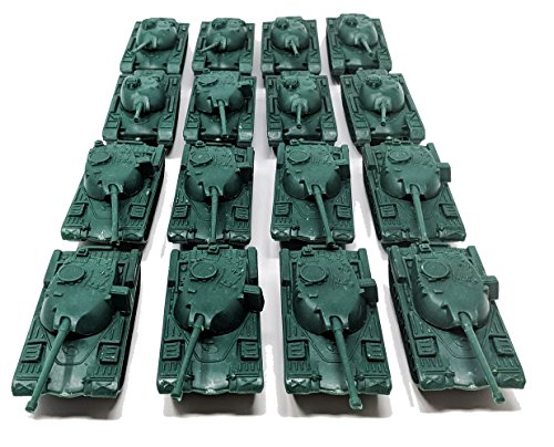 Toy Essentials 16 Pc Green Army Battle Tanks Play Set