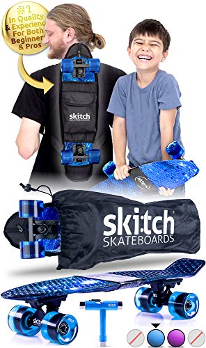 SKITCH Complete Skateboards Gift Set for Beginners Boys and Girls of All Ages with 22 Inch Mini Cruiser Board + All Accessories (Blue Galaxy)