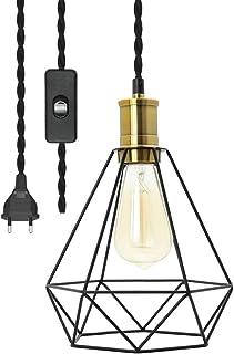 Lámpara colgante moderna industrial con interruptor, lámpara colgante geométrica vintage, 4,5 metros, cuerda de cáñamo trenzada, cable de lámpara para restaurante, cocina, portalámparas E27