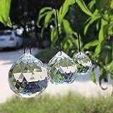 WEISIPU 3 Stück Sonnenfänger Kristall klar Kristall Kugel Prisma Sonnenfänger hängende Anhänger Sonnenfänger Kugeln Regenbogen Maker für Fenster Garten (30/40/50 mm)