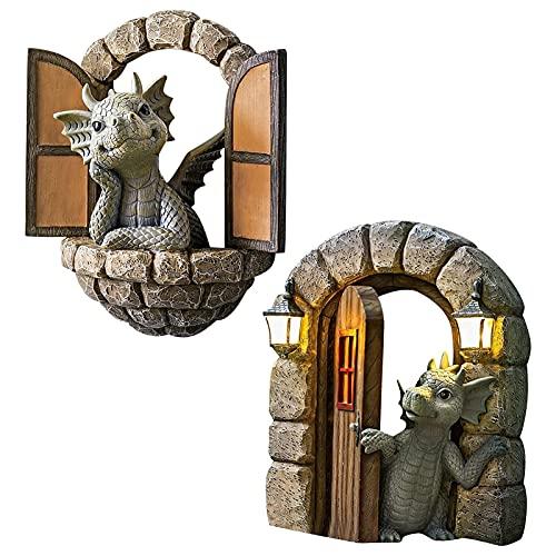 monshop 2 Pcs Drachen Figuren Garten, Schöne Hof Drachenskulptur, Lustige Garten Statue Deko - Dinosaurier Öffnen Die Tür/Fenster, Gartenfiguren