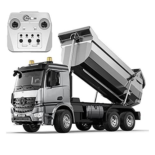 NAMFZX 1:20 Camión Volquete De Control Remoto Vehículo De Ingeniería De Aleación Camión 4WD Camión De Transporte De 2.4 GHz Vehículo De Carga Modelo De Automóvil De Juguete RC La Puerta del Camión De