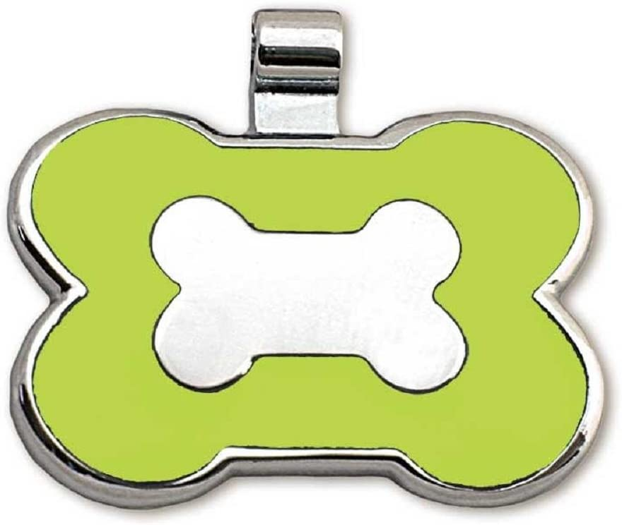 Beautiful Enamel on Front Custom Engraved on Back Side Bone Shaped Jewelry Tag LuckyPet Pet ID Tag Easy to Read Laser Engraving