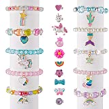 Deoot 20 Pcs Little Girls Rings and Bracelets,10 Pcs Adjustable Little Girls Rings and 10 Pcs Princess Bracelets for Toddlers Kids Girls