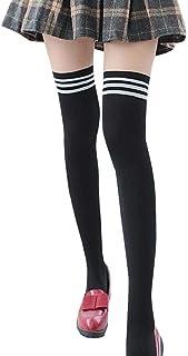 SHOBDW Camisetas de manga larga, SHOBDW Moda Para Mujer 1 Pares Moda Rayas Delgadas Estampado de Algodón Muslo Alto Sobre la Rodilla Calcetines Altos Niñas Nuevo Regalo de Las Señoras Calcetines para el invierno