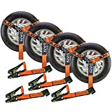 VULCAN Car Tie Down with Flat Hooks - Lasso Style - 2 Inch x 96 Inch, 4 Pack - PROSeries - 3,300 Pound Safe Working Load