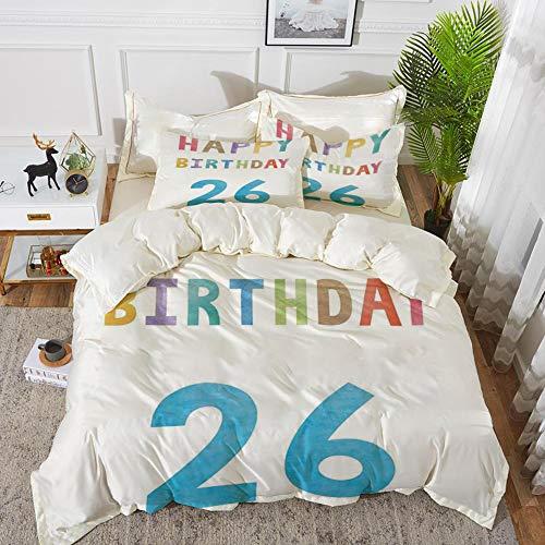 Luoquan Bedding Set Microfiber, 26 ° Compleanno Decorazioni, Pastello Morbido colorato colorato Tipografia Celebrazione Segno Modello, Multicolore,1 Quilt Cover135 x 2002 Pillowcase 50x80cm