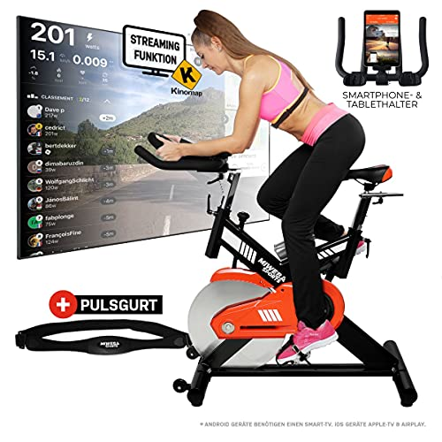 Miweba Sports MS400 - Bicicleta estática profesional, para interior, con control mediante aplicación, 22 kg de masa oscilante, correa de pulso