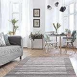 MyShop24h Alfombra para salón, color gris, pelo corto, 80 x 150 cm, para dormitorio moderno, jaspeado, Oeko Tex 100, apta para alérgicos estándar