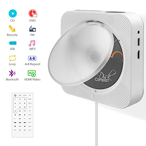 CD/DVD-Player,VIFLYKOO Bluetooth Tragbaren Wand Montierbaren CD/DVD Musik-Player mit Full HD 1080p und Fernbedienung,2 HiFi-Lautsprecher,USB/HDMI/MP3/3,5mm RCA für Kinder Studenten - Weiß