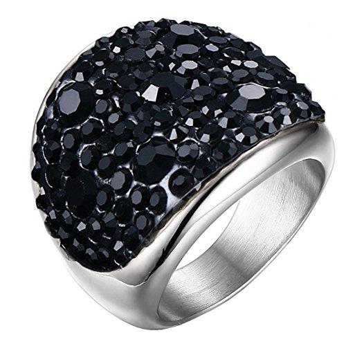 PAURO Mujer Acero Inoxidable Estilo Occidental Gran Diamantes Brillantes Alrededor de Anillo de Boda Negro Tamaño 19