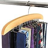 Hangerworld Percha Corbatero 24 Corbatas Madera Premium Ahorra Espacio Ganchos de Metal Organizador