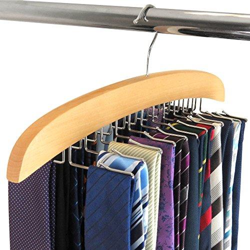 HANGERWORLD Portacravatte 20 Cravatte in Legno Laccato Naturale Salvaspazio per Armadio