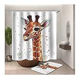 MaxAst Bad Vorleger Weich Set Bunt Giraffe Duschvorhang Antischimmel Badezimmerteppich Polyester Duschvorhang Badewanne 120x180CM