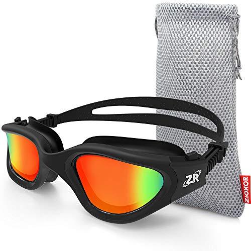 ZIONOR Polarisiert Schwimmbrille für Herren und Damen [Upgrade], G1 Schwimmbrille mit Spiegel/Rauch Linse UV-Schutz Anti Nebel Verstellbar Gurt Komfort Profi Schwimmbrillen für Erwachsene Jugendliche