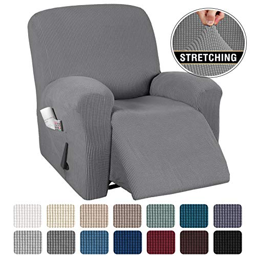 "Stretch Recliner Cover Recliner Chair Covers for Leather / Living Room Recliner Chair Slipcover with Side Pocket, Thick Soft Small Checked Jacquard, Fitted Standard / Oversized 24""-33"" Width, Grey"