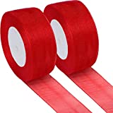 Sumind 2 Rolls Christmas Sheer Organza Ribbon Organza Ribbons for DIY Christmas Decoration, 49 Yards Totally Length, 1.6 Inch Width(Red)