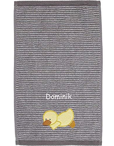 Sterntaler Kinder/Baby Handtuch mit Namen bestickt, Ente Edda Kinderhandtuch personalisiert (Ente Edda Baby grau)