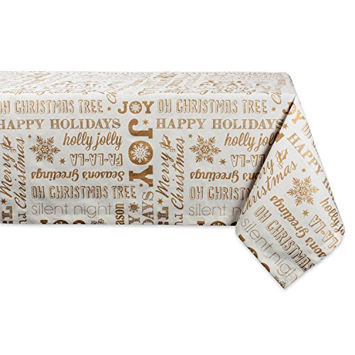 """DII 100% Cotton, Machine Washable, Printed Metallic Holiday Tablecloth - 60x104"""" Seats 8 to 10 People, Gold Christmas Collage"""