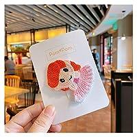 ヘアピン 韓国のかわいいカラフルなウールニット漫画王女BBクリップ子供のヘアアクセサリーファッションスウィートガールヘアピンのヘッドウェア (Color : 3)