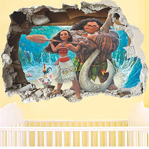 mmwin Cartoon Moana Maui Vaiana Break Etiqueta De La Pared para Niños Habitaciones De Bebé Nursery Calcomanías Decoración De Los Niños Arte del Cartel