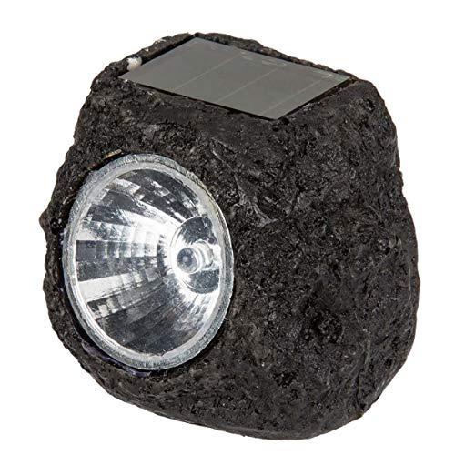Objektkult Solarstein in rustikaler Pflasterstein-Optik aus Polyresin mit 1 weißer LED, ideal als Beleuchtung für Wege, Terrassen. Maße (HxB xT): 5,5 x 6 x 6,5 cm. Mit EIN-/Ausschalter, Farbe:schwarz