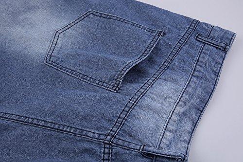 Men's Vintage Distressed Straight Slim Fit Ripped Denim Jeans Shorts Blue2 L