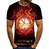 HGFHKL Reloj Despertador con Llama, impresión en 3D, Camiseta de Manga Corta para Hombre, Camiseta Informal de Verano con Cuello Redondo, patrón Divertido