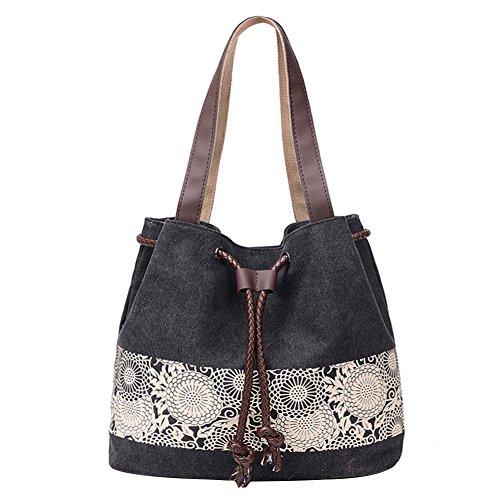PB-SOAR Damen Vintage Canvas Shopper Schultertasche Beuteltasche Handtasche mit Kordelzug 30x29x12cm (B x H x T) (Schwarz)