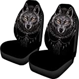 BIGCARJOB Black Dirty Proof Car Seat Covers Bohemian Wolf Print Saddle Blanket Cover for Front Seats 2piece Set Easy Install