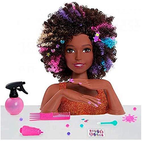 Barbie, Tête à coiffer Affro Style, 27 Accessoires de Coiffure inclus, son Maquillage change de couleur, Jouet pour enfants dès 3 ans, BAR34