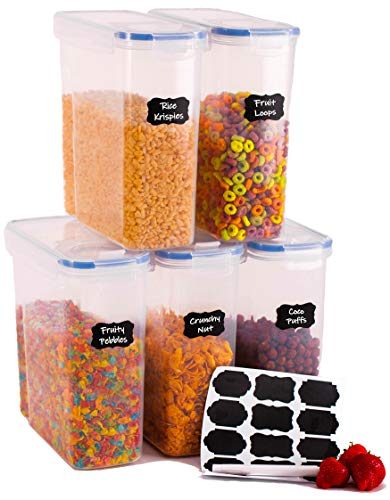 Tomas Weil Cereal Storage Containers 4L Set of 5 - Airtight Food Storage Containers with 15 Labels and 1 Marker. Keep Your Cereal Fresher for Longer!!! (Blue)