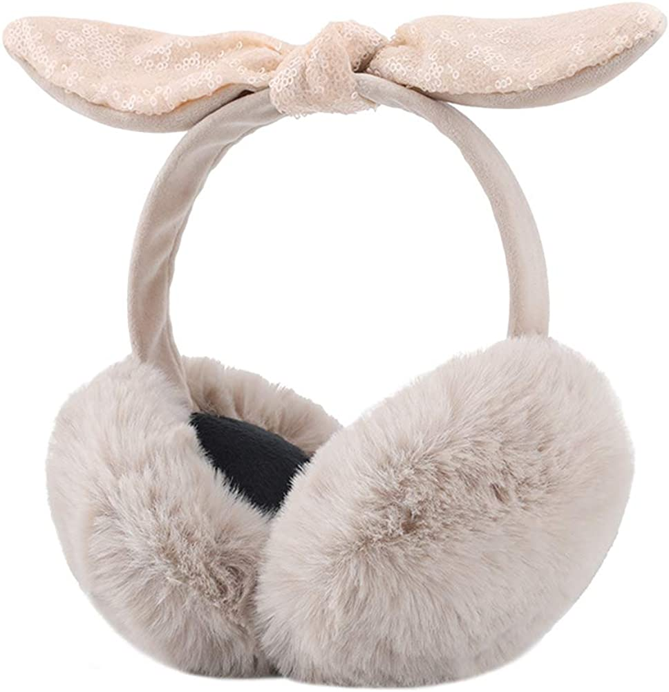 ICEVOG Women National products Faux Fur Ear Muffs Fluf with Direct stock discount Bow Sequins Warm Cute