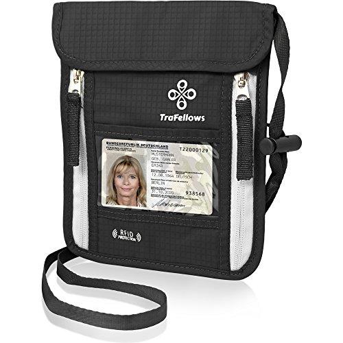 Premium-Brustbeutel mit RFID-Blocker für Damen & Herren | Leichte Brustbeutel-Tasche für maximale Sicherheit für Smartphone & Reise-Dokumente (Schwarz)