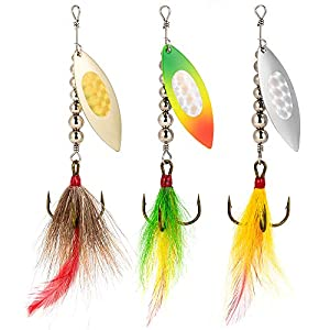 Dr.Fish 3pcs Musky Spinner Baits, Bucktail Spinner, 3/4oz 5 Inches Muskie Lures Pike Striper Bass Lures Willow Blade Big Inline Spinner
