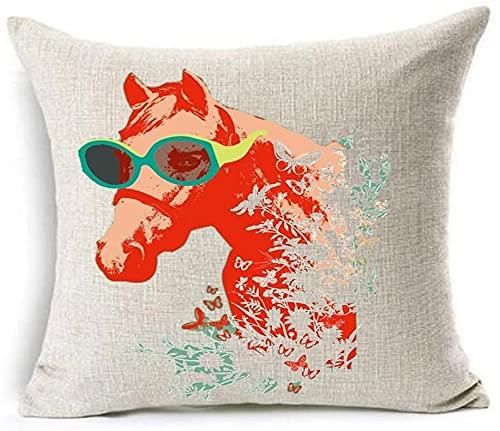 Bernice Winifred Acuarela Bosque Reptil Elefante Caballo Leopardo algodón Lino Tiro Fundas de Almohada Funda de cojín sofá Decorativo Cuadrado (6)(18×18)