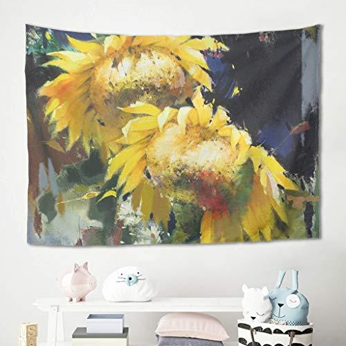 Niersensea Tapiz para colgar en la pared, diseño de girasol, para picnic, playa, dormitorio, decoración, color blanco, 100 x 150 cm