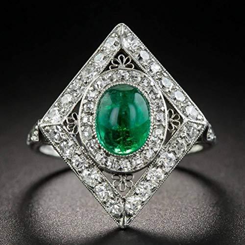 Thumby Europese en Amerikaanse creatieve ring vrouwelijke natuurlijke smaragd edelsteen trouwring groene kristallen ring, semi-kostbare stenen, retro stijl, dans, tas set, geometrie, bijwonen Cocktail ring, Emeral