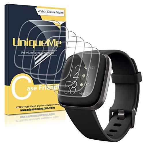 [6Pack] UniqueMe Protector de Pantalla para Fitbit Versa 2, película Transparente de Burbuja de TPU Huella Digital Disponible Compatible con Fitbit Versa 2