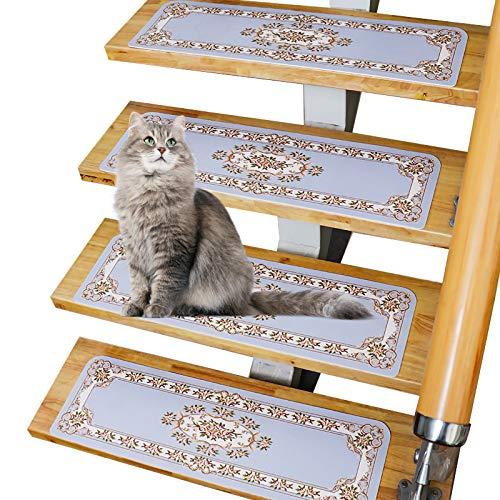 Treppenstufenmatten, Treppen Teppichpolster, Rutschfeste Treppenstufen, Treppenaufkleber Selbstklebende 10-teilige JDK Master Design Mehrere Größen Und Farben Erhältlich(Color:Hellblau,Size:85x22cm)