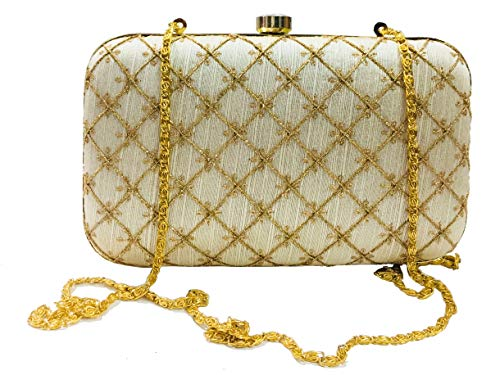 Gauri Oro mujer niña boda regalos gran bolso de embrague desmontable cadena monedero para nupcial bordado embrague monedero casual, fiesta