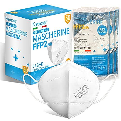 KARAEASY Mascherine ffp2 Certificate Ce Made In Italy Confezione Bianco da 25 Pezzi PFE ≥95% (Small) (Normale)
