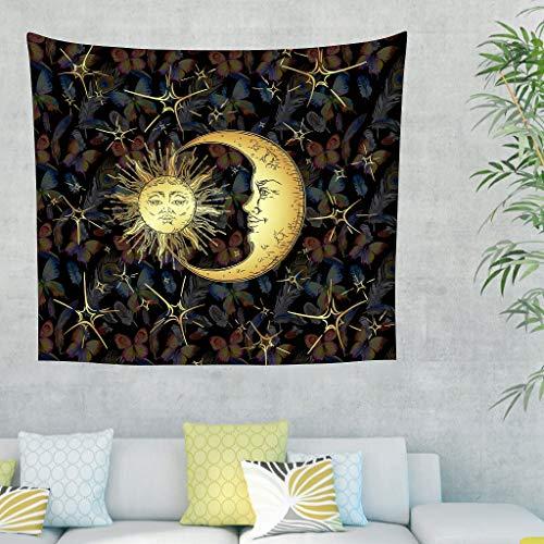 O3XEQ-8 Turtle Moon Sun Theme Tapisserie Bohemian pequeño Picknickdecke - Turtle Moon Sun Impreso para apartamento, poliéster, Blanco, 200x150cm