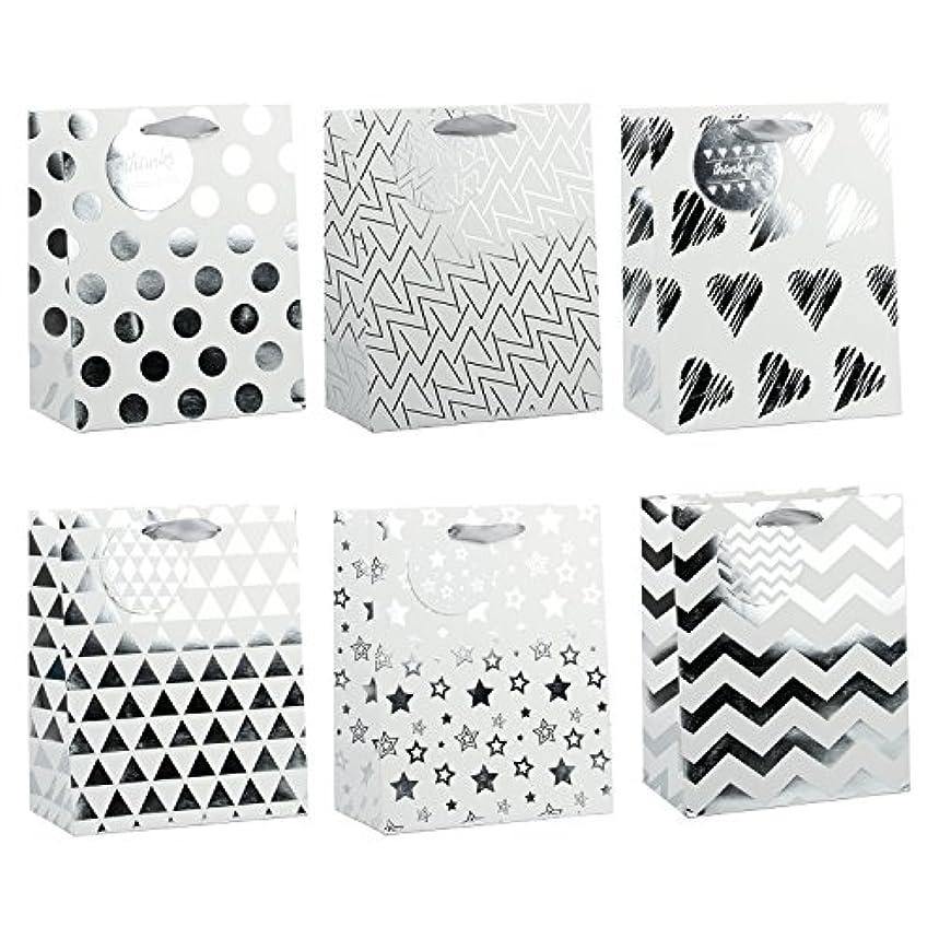 LaRibbons Medium Silver Gift Bags - Polka Dot, Stripes, Chevron, Stars, Triangle - Gift Bag for Wedding, Birthday, Baby Shower, Party Favors, Christmas - 12 Pack - 8