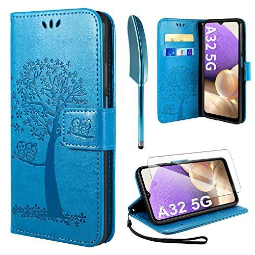 AROYI Handyhülle für Samsung Galaxy A32 5G Hülle + Schutzfolie,Galaxy A32 5G [Not Fit for 4G] Klapphülle Hülle PU Leder Flip Wallet Schutzhülle für Samsung Galaxy A32 5G Tasche (Blau)