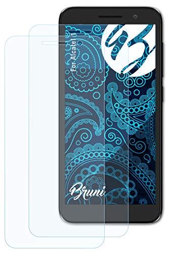 Bruni Schutzfolie kompatibel mit Alcatel 1 Folie, glasklare Bildschirmschutzfolie (2X)